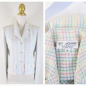 St. John Collection Ivory Multi Color Plaid Jacket